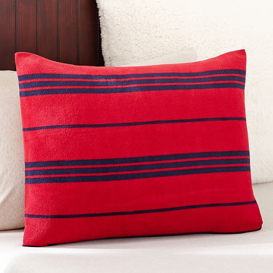 Fleece Sham, Standard, Stripe Red
