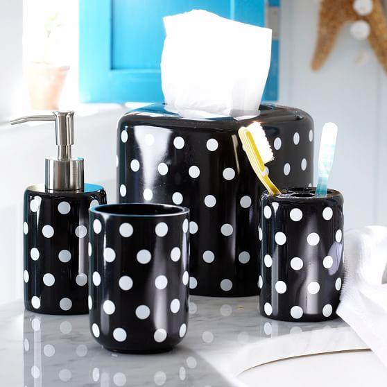 Dottie Bath Accessory, Tissue Box, Black Dottie
