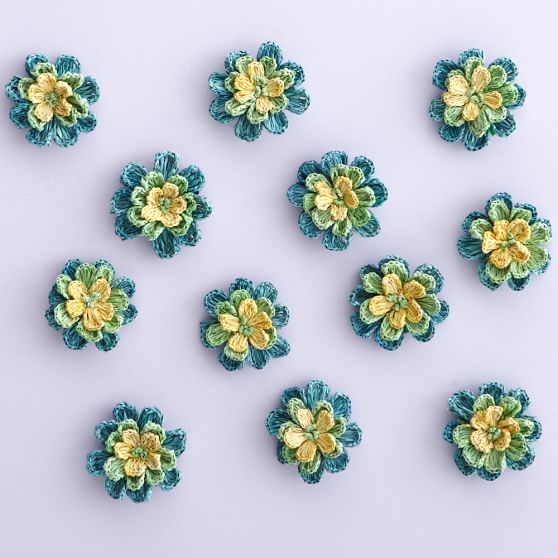 Tropical Floral Woven Wall Stickers, Set of 12, Cool