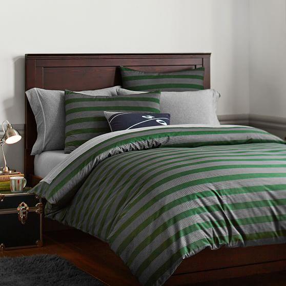 Brooklyn Stripe Duvet + Sham, Twin, Green