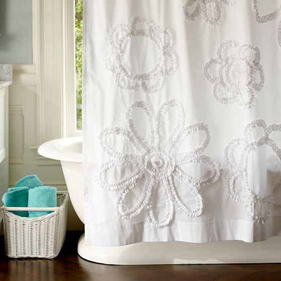 Ruffle Floral Shower-Curtain, White
