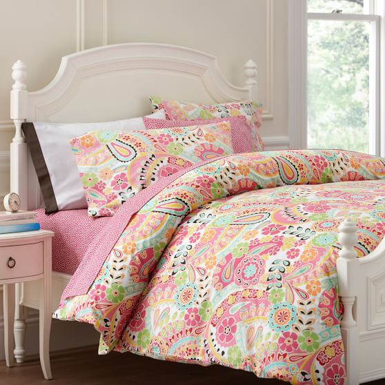 Paisley Pop Duvet Cover, Twin, Dark Pink