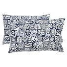 Tiki Surf Extra Pillowcases, Set of 2, Navy