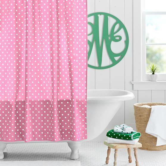 Dottie Shower-Curtain, Bright Pink