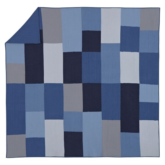 Townsend Quilt, Twin, Blue/Gray