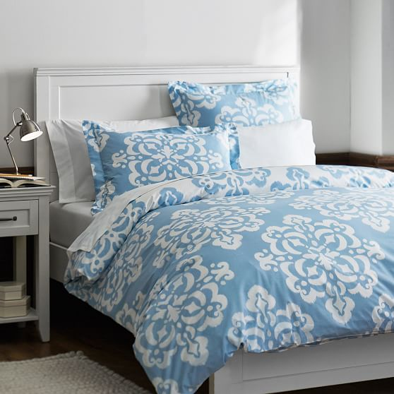 Ikat Medallion Duvet Cover + Sham, Full/Queen, Sky Blue