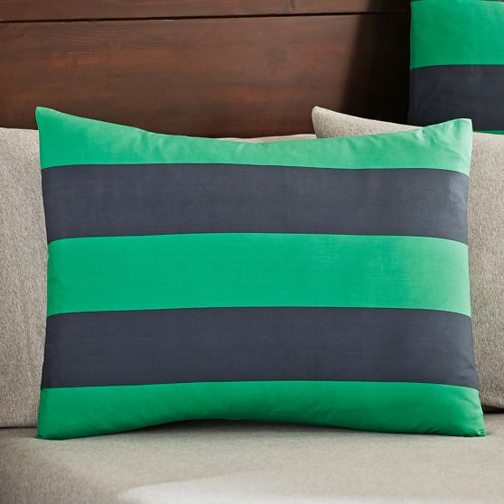 Rugby Stripe Standard Sham, Navy/Bright Green