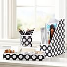 Printed Desk Accessories, Set of 3: Magazine Caddy, Divided Tray and Cup, Black Dottie