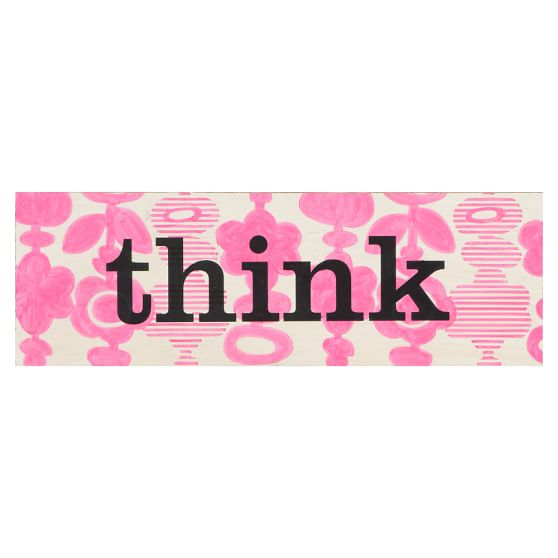 Word Plaque, Think, Pink