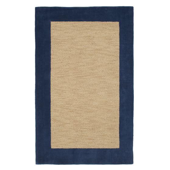 Classic Wool Border Rug, 3x5', Navy