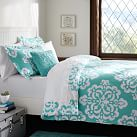 Ikat Medallion Duvet Cover, Twin, Pool