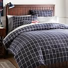 Boxter Plaid Duvet Cover, Twin, Navy/White