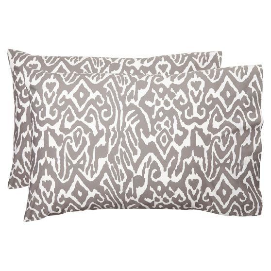 Urban Ikat Pillowcase, Standard, Set Of 2, Gray
