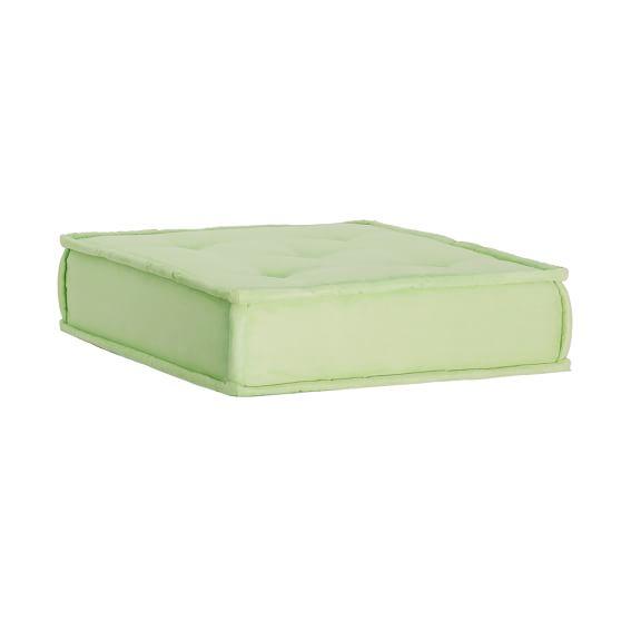 Cushy Lounge Ottoman, Pale Green Faux Suede