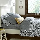 Damask Duvet Cover, Twin, Black