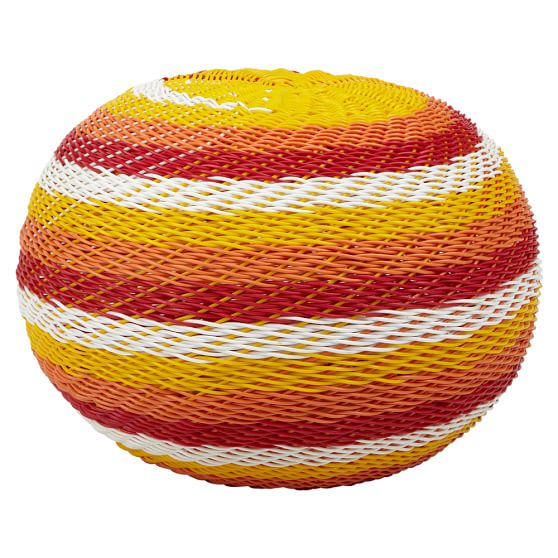 Color Pop Woven Table, Round, Orange/Red