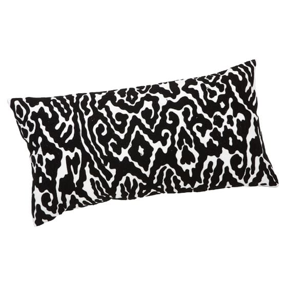 Urban Ikat Pillow Cover, 12x24, Black