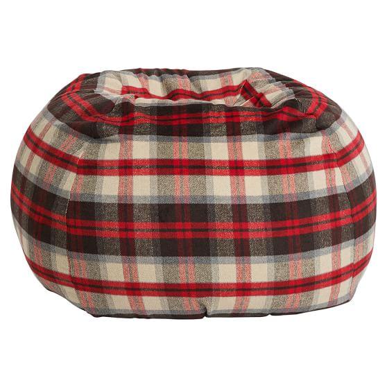 Buffalo Plaid Beanbag, Slipcover + Beanbag Insert, Red/Coffee