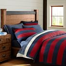 Rugby Stripe Reversible Quilt, Twin, Navy/Red
