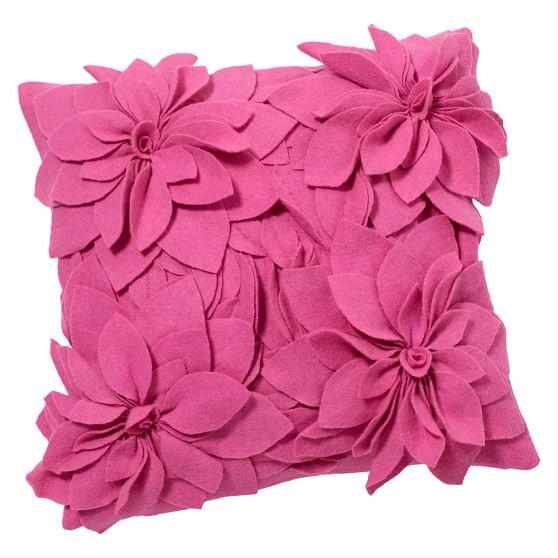 Fab Felt Pillow Cover, 16x16, Pink Chrysanthemum