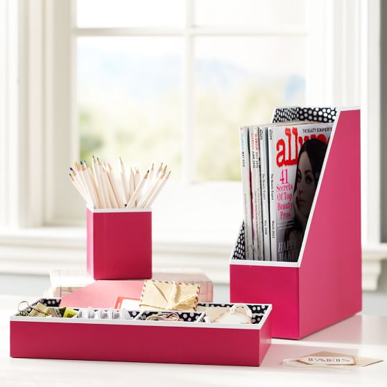 Printed Desk Accessories, Set of 3: Magazine Caddy, Divided Tray and Cup, Solid Pink