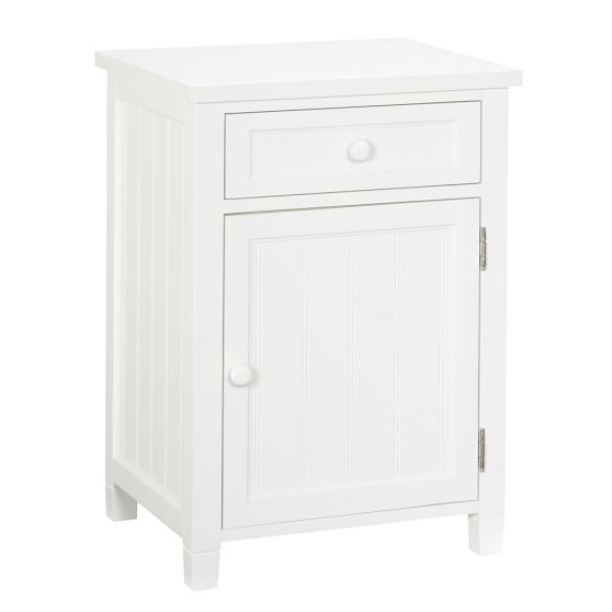 Beadboard Cabinet Bedside Table, White