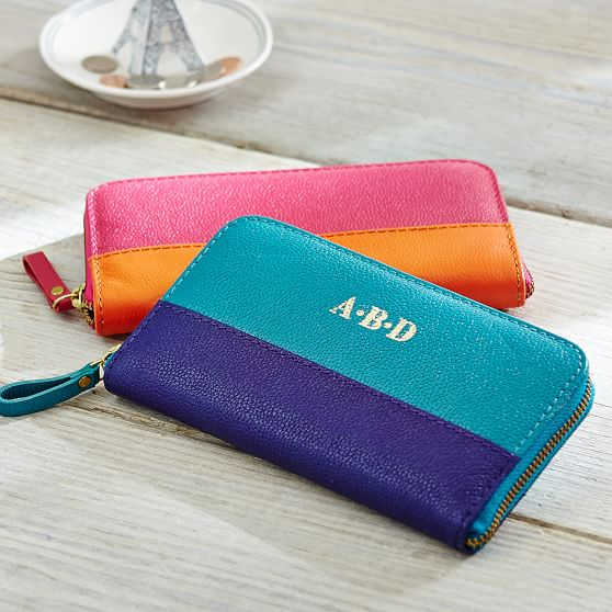 Caroline Leather Wallet, Pink/Orange