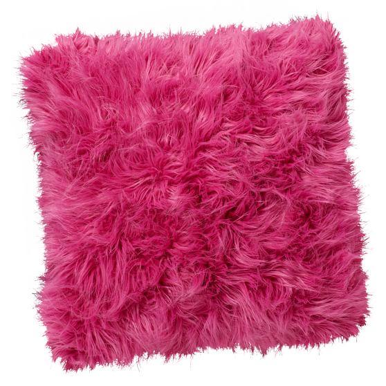 Fur-Rific Faux Fur Pillow Cover, 18x18, Bright Pink