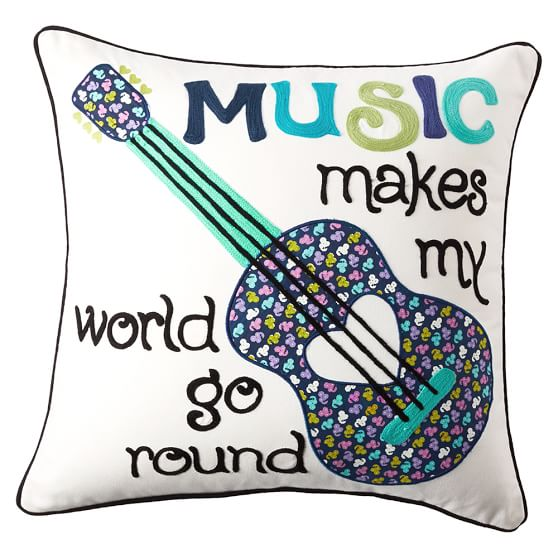 Inspiration Pillow Covers, 18x18, Music Makes My World Go Round