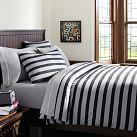 Brooklyn Stripe Duvet Cover, Twin, Black