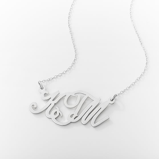 Monogram Casual Cursive Necklace, Silver