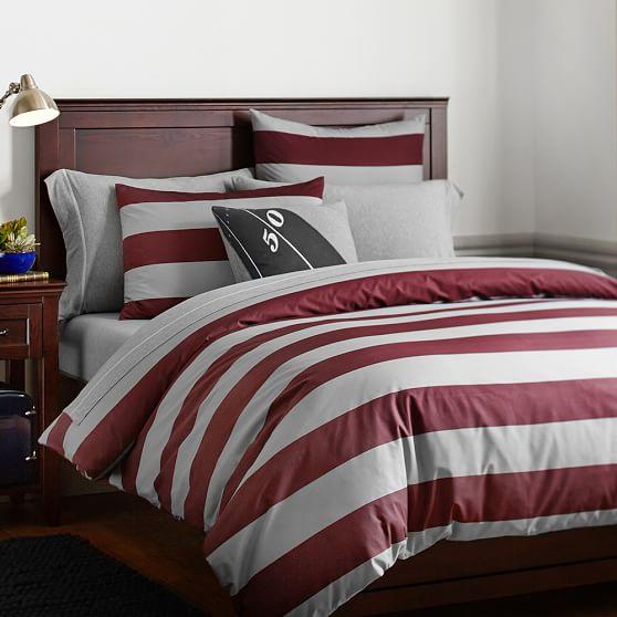 Rugby Stripe Duvet Cover + Sham, Twin, Vineyard Vine/Gray