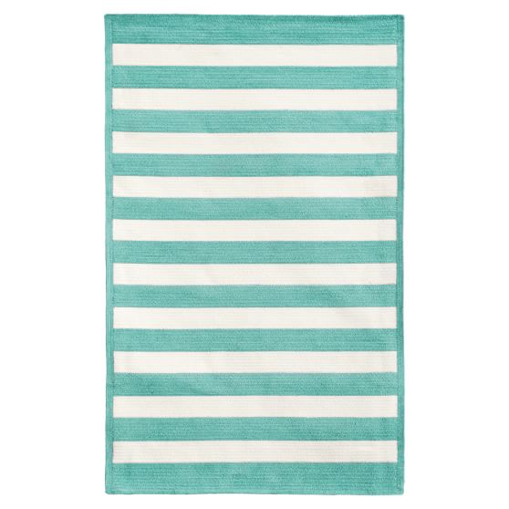 Capel Cottage Stripe Rug, Pool, 3x5