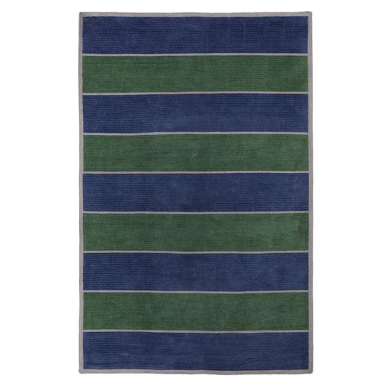 Capel Rug, Navy/Green, 5x8