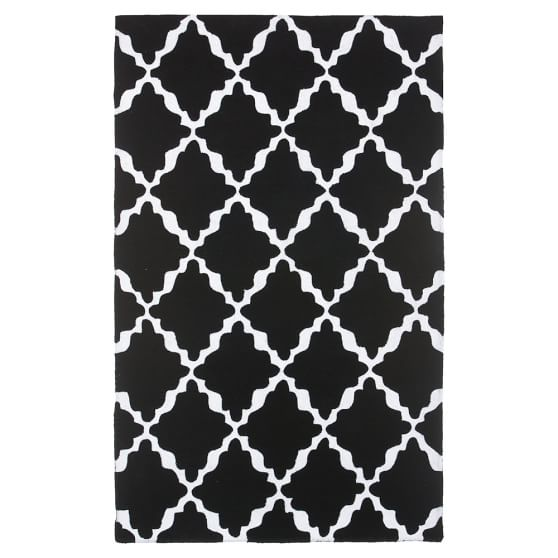 Lattice Rug, 3x5, Black