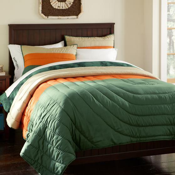 Burton Colorblock Quilt, Full/Queen, Green/Orange