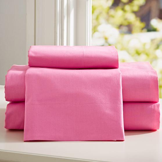 PBteen Classic Organic Sheet Set, Twin/Twin XL, Bright Pink