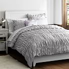 Ruched Duvet Cover, Twin, Light Gray