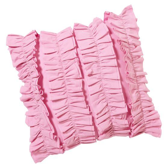 Ruffle Pillow Cover, 16x16, Pink Ruffles