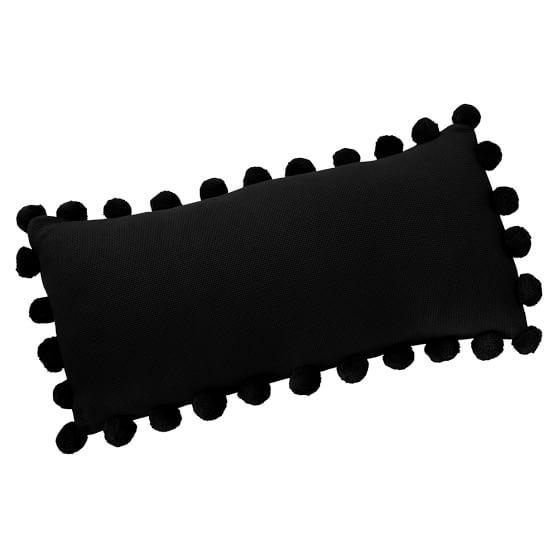 Pom Pom Organic Pillow Cover, Black