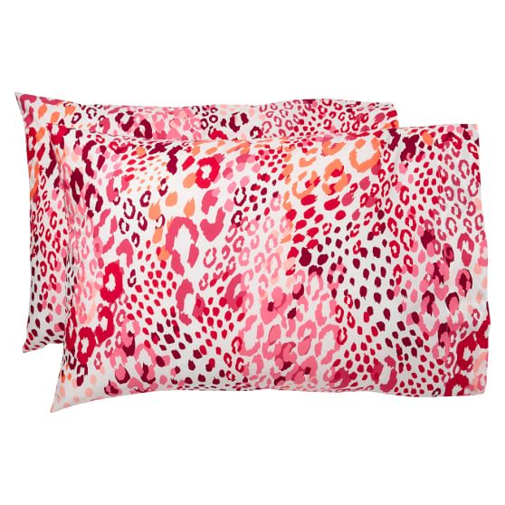 Cheetah Pillowcases, Pink Multi, Set Of Two, Standard