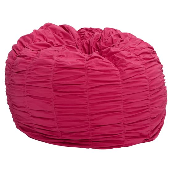 Rouched Pink Magenta Beanbag, Slipcover + Beanbag Insert, Large
