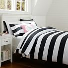 Cottage Stripe Duvet, Twin, Black