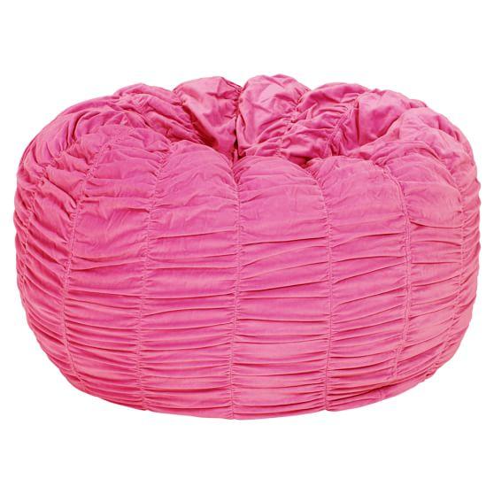 Pink Ruched Velvet Beanbag, Slipcover + Beanbag Insert