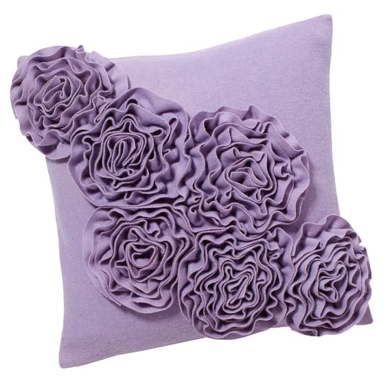 Fab Felt Pillow Cover, 16x16, Purple Tossed Floral