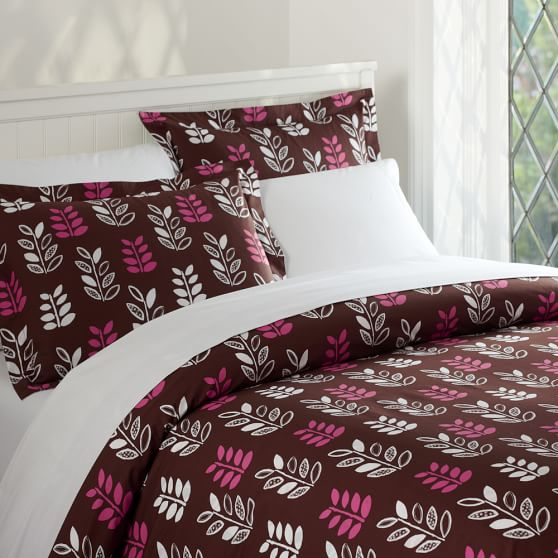 Leaflet Organic Duvet Cover, Twin, Coffee