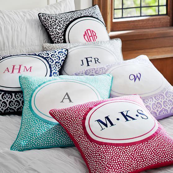 Dorm Monogram Pillow Cover, 16x16, Navy Ivy Geo
