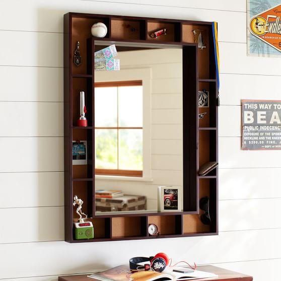 Pinboard Display Shelf Framed Mirror, Dark Espresso/Cork