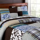 Oceanside Patchwork Surf Quilt, Twin, Dark Coffee/Blue