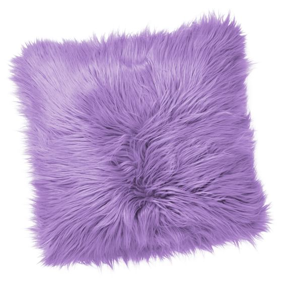 Fur-Rific Faux Fur Pillow Cover, 18x18, Lilac